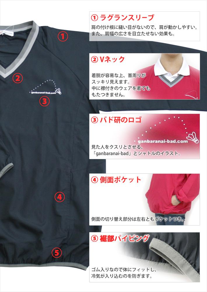 1、ラグランスリーブ・2、Vネック・3、バド研のロゴ・4、側面切り替え・裾部パイピング